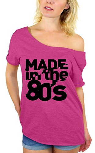 Awkwardstyles Made in The 80's Black Off Shoulder Tops T-Shirt + Bookmark 2XL Pink ()