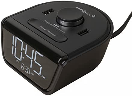 Brandstand CubieWink User Friendly Convenient Alarm Clock Charger 2 USB Ports