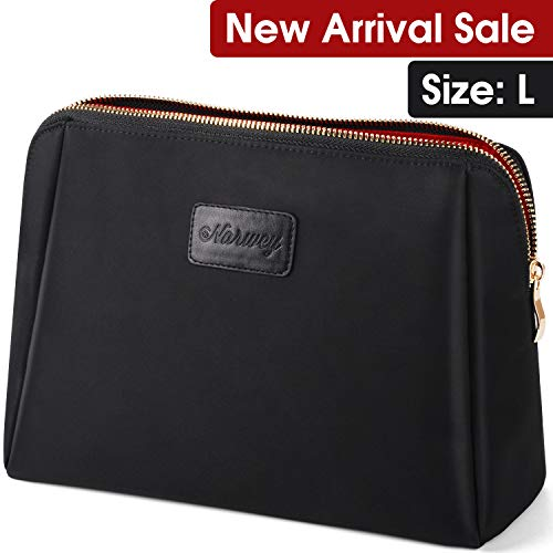 Large Makeup Bag Cosmetic Clutch Handy Pouch for Women (Black)
