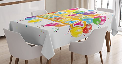 Birthday Decorations Tablecloth by Ambesonne, The Words Happy Birthday with Vivid Balloons Confetti Rain Blithesome, Dining Room Kitchen Rectangular Table Cover, 60 W X 90 L Inches, (Rain Confetti)