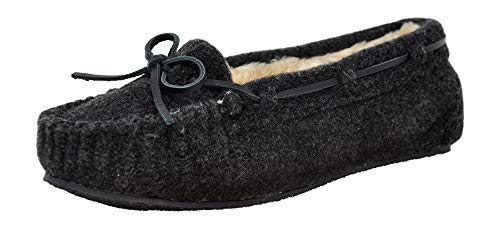 - Minnetonka Women's Cally Faux Fur Slipper, Charcoal Wool, 6 M US