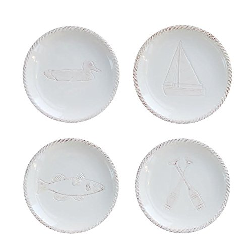 Canape Appetizer Plate (American Atelier Seashore Assorted Canape Plate (Set of 4), White)