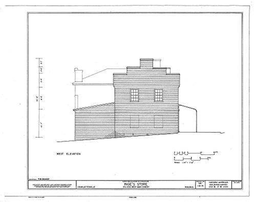 Historic Pictoric Blueprint Diagram HABS VA,2-Char,15- (Sheet 6 of 8) - Inge's Store, 331-333 Main Street, Charlottesville, Charlottesville, VA 44in x 32in (In Va Stores Charlottesville)
