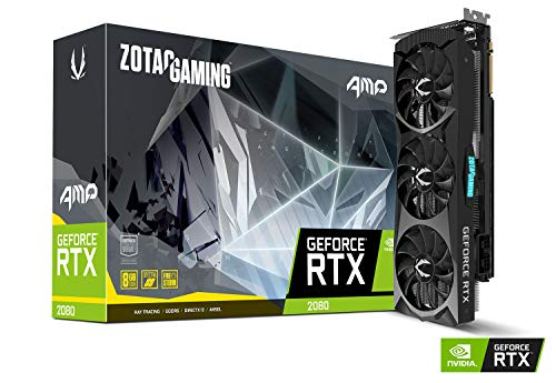 ZOTAC GAMING GeForce RTX 2080 AMP 8GB GDDR6 256-bit Gaming Graphics Card Triple Fan Metal Backplate LED - ZT-T20800D-10P