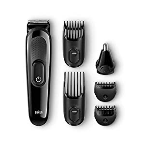 All-in-One Beard Trimmer for Men by Braun, MGK3020, Ear and Nose Hair Clipper Attachment, 4 Combs with 13 Precision Length Settings, 6-in-1 Cordless Hair Clipper, Rechargeable, Black