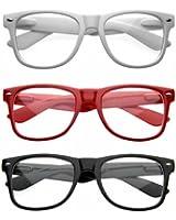 zeroUV - Nerd Raver Poser Clubbing Clear Lens UV400 Dork Horn Rimmed Glasses (3-Pack (Black + White + Red))