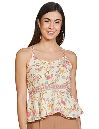 AND Women's Floral Regular fit Top (SS20AN113TC105ORG/WHT10_ORG/WHT 10)