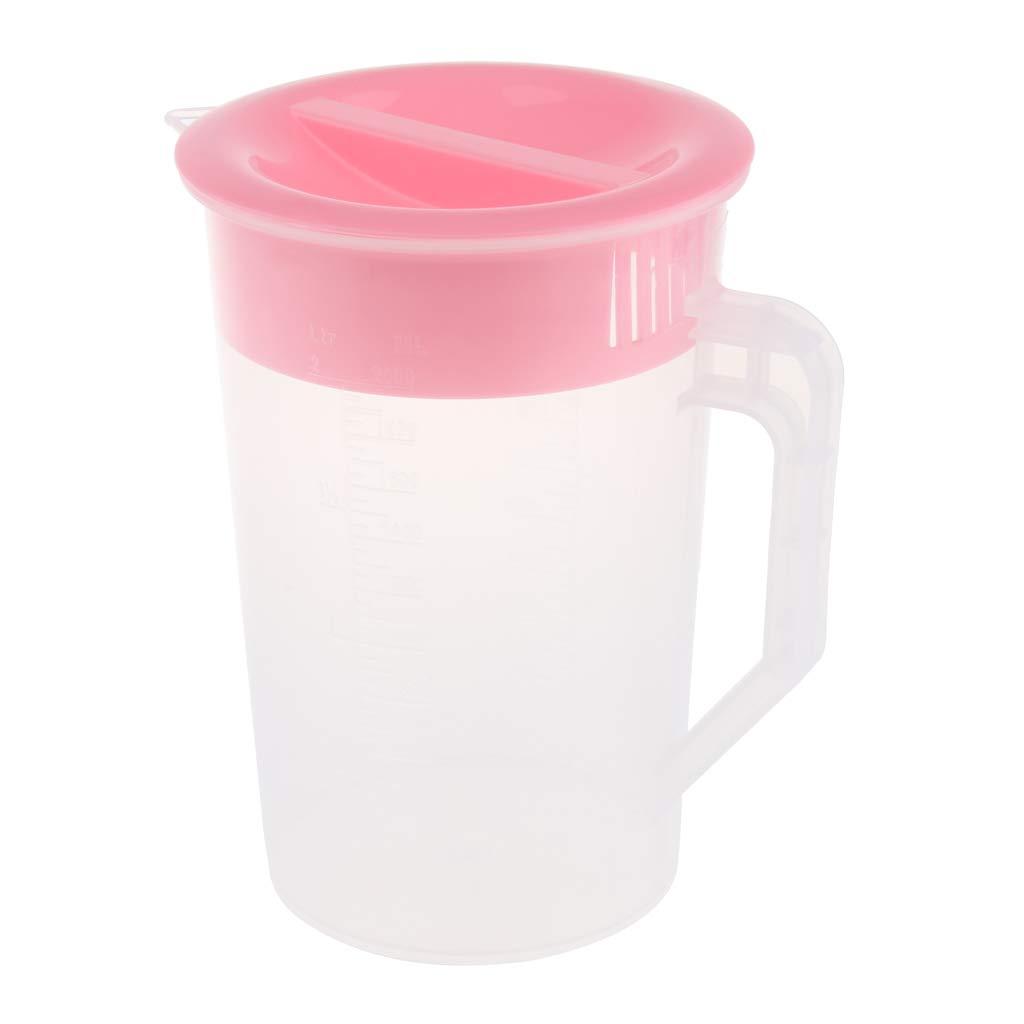 Baoblaze 2L Plastic Water Jug Pot Pitcher Lid Juice, Milk, Water Pink