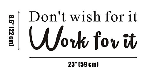Don't Wish for It, Work for It GYM Fitness Mural Quote Saying Inspirational Vinyl Wall Sticker Decals Transfer Words Lettering Decor Uplifting
