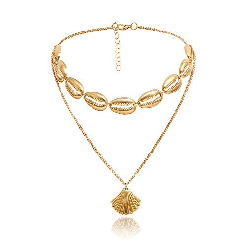 Mrotrida Shell Choker Fashion Handmade Shell Pendant Necklace for Women Girls Beach Bikini Party (Gold)