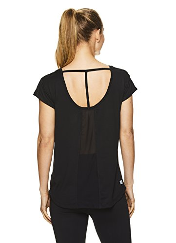 Nicole Miller Active Women's Short Sleeve Workout T-Shirt w/ Open Back Detail & Mesh Insert - Black, Small (Nicole Spandex Tunic)