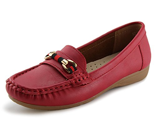 - Jabasic Women's Slip-on Loafers Flat Casual Driving Shoes(6, Red-1)