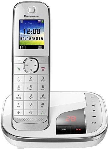 PANASONIC KX-TGJ320GW weiss schnurlos analog mit AB (40 Min.) Farbdisplay Gespräche mitschneiden sprechende Anruferkennung