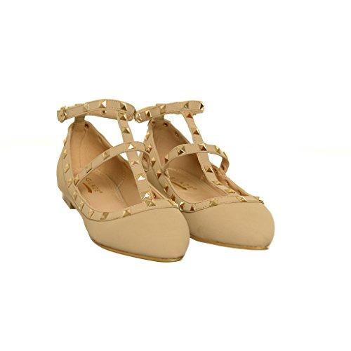 Womens Snake Studded Spike Ankle Strap Ballet Flats taupeSK wi1Za2mz