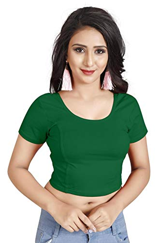 Indian Ethnic Design Stretchable Cotton Lycra Blouses Green Tops Readymade Saree Blouses Short Sleeve Crop Top