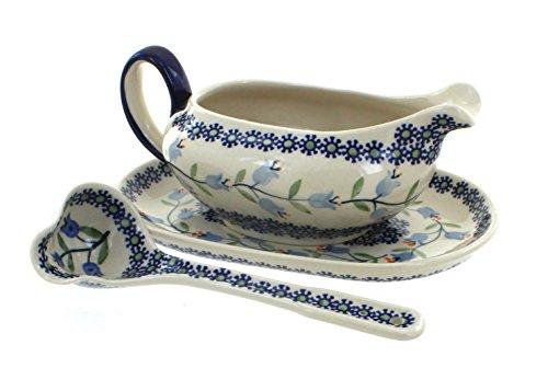 (Blue Rose Polish Pottery Tulip Gravy Boat & Ladle )