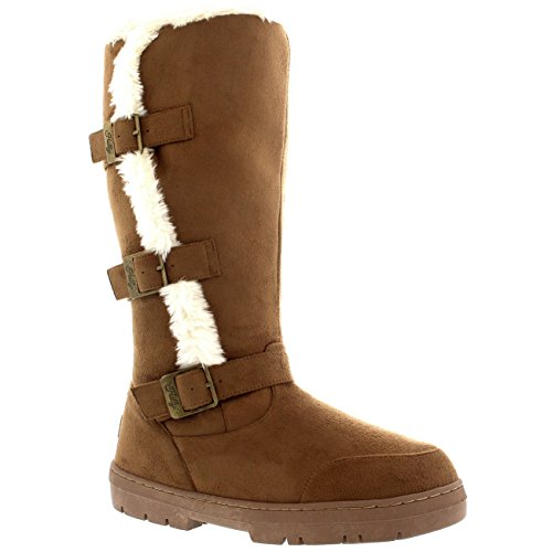Zip Tall Snow Tan Three Rain Boots Light Holly Waterproof Inside Womens Buckle Winter R0xqpvna