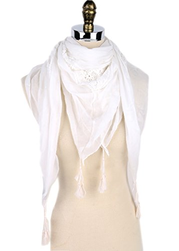 Essential Lace Triangle Sheer Scarf Premium Shemagh Head Neck Scarf (STYLE A - - Lace Triangle Slip All