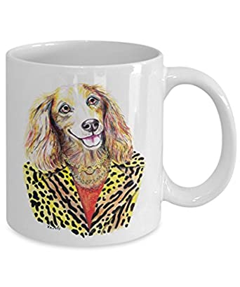 Pretty Dachshund Wearing a Leopardskin Coat Mug - Cute Ceramic Dachshund Coffee Cup (15oz)
