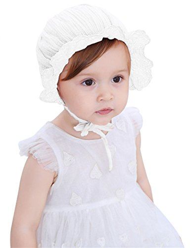 Fairy Wings Baby Girls Lacy Bonnet Summer Hat with Ruffle Flowers Trim, White