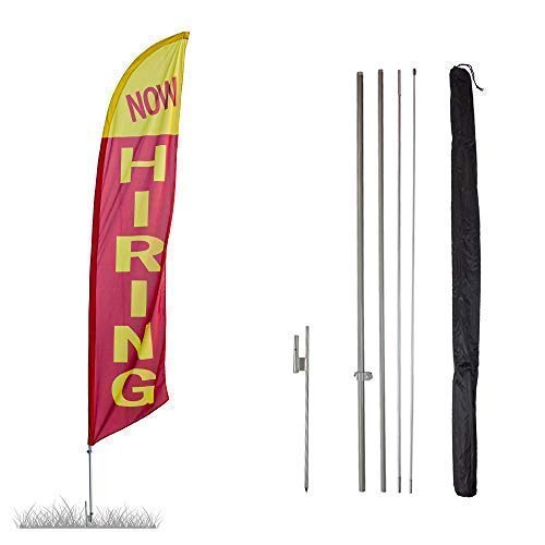 - Vispronet Now Hiring Feather Banner Swooper Flag Kit - 13.5ft Swooper Flag with Pole Sets and Ground Spike - Flag Printed in The USA