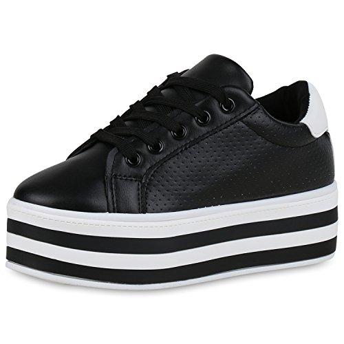 Chaussures Vie Sneaker Damen Plateau De Base Schwarz Weiss