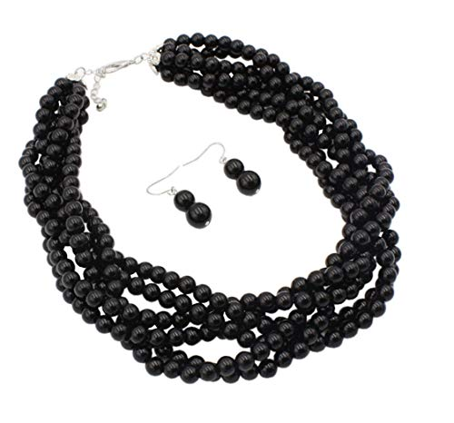 Shineland Twisted Multilayer Strand Faux Pearls Beads Cluster Choker Necklace And Earrings Set (Black) ()