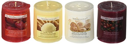 Anniversary Pillar Candle - Luminessence(tm) Assorted Scented Pillar Candles, 4 Pillar Candles in Each Pack -Wonderful Aroma - Long Lasting – Inexpensive – Vanilla – Black Cherry – Apple Cinnamon – Fresh Linen, Soy Wax Candles