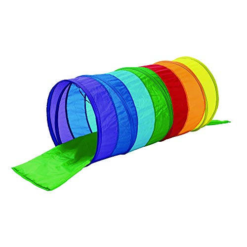 Excellerations Pop-Up Tunnel for Toddlers and Older Children with Soft Cushion Mat and Storage Bag, Kids - Rainbow Tunnel