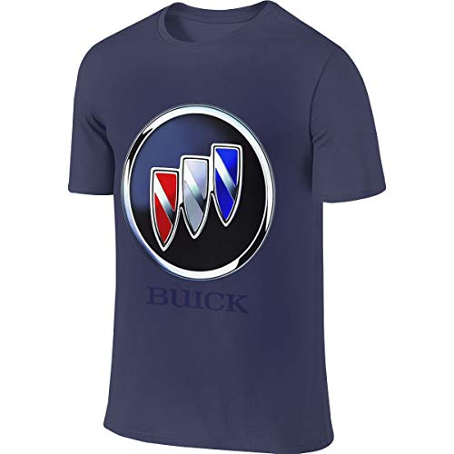 (LinGing Men Custom Funny Tops Buick Cars Sedans SUVs Logo T Shirts Navy)