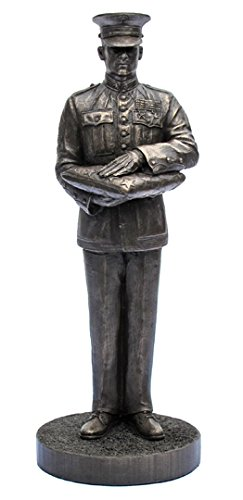 Khaki-Army USA Marine Honor Guard Bronze Cold Cast Resin Statue,7-Inch