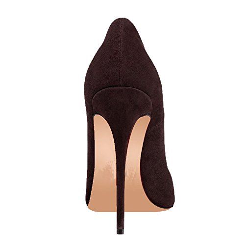 fino Braun Mujer MERUMOTE Wildleder Marrón tacón de Zapatos q7pwRBZ