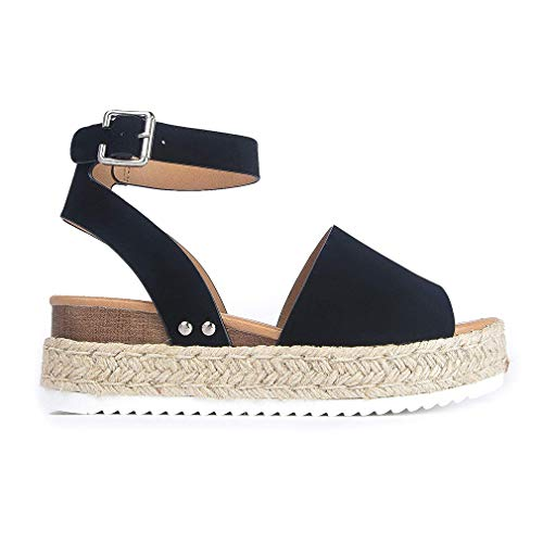 Womens Casual Espadrilles Flatform Studded Wedge Buckle Ankle Strap Open Toe Sandals (Black,6.5 M US)