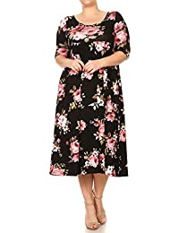 Women's Plus Size Solid & Floral Midi-Length Baby-Doll Dress MADE IN USA