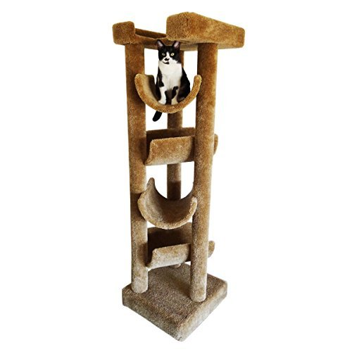 New Cat Condos Premier Solid Wood 6-Foot Skyscraper Cat Tree, ()