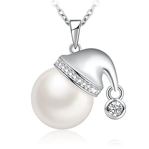Santa Hat Gift - SUE'S SECRET Freshwater Pearl Necklace Santa Claus Hat Pendant Swarovski Crystals, 20