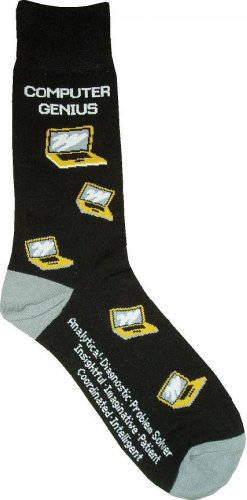 Computer Genius Man Socks Cotton New Gift Fun Unique Fashion Avenue Computer