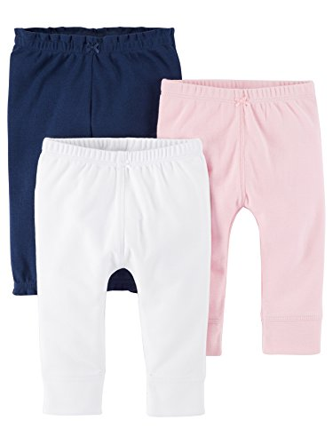 Carter's Baby Girls' 3 Pack Long Pants, Pink Navy, 9 Months