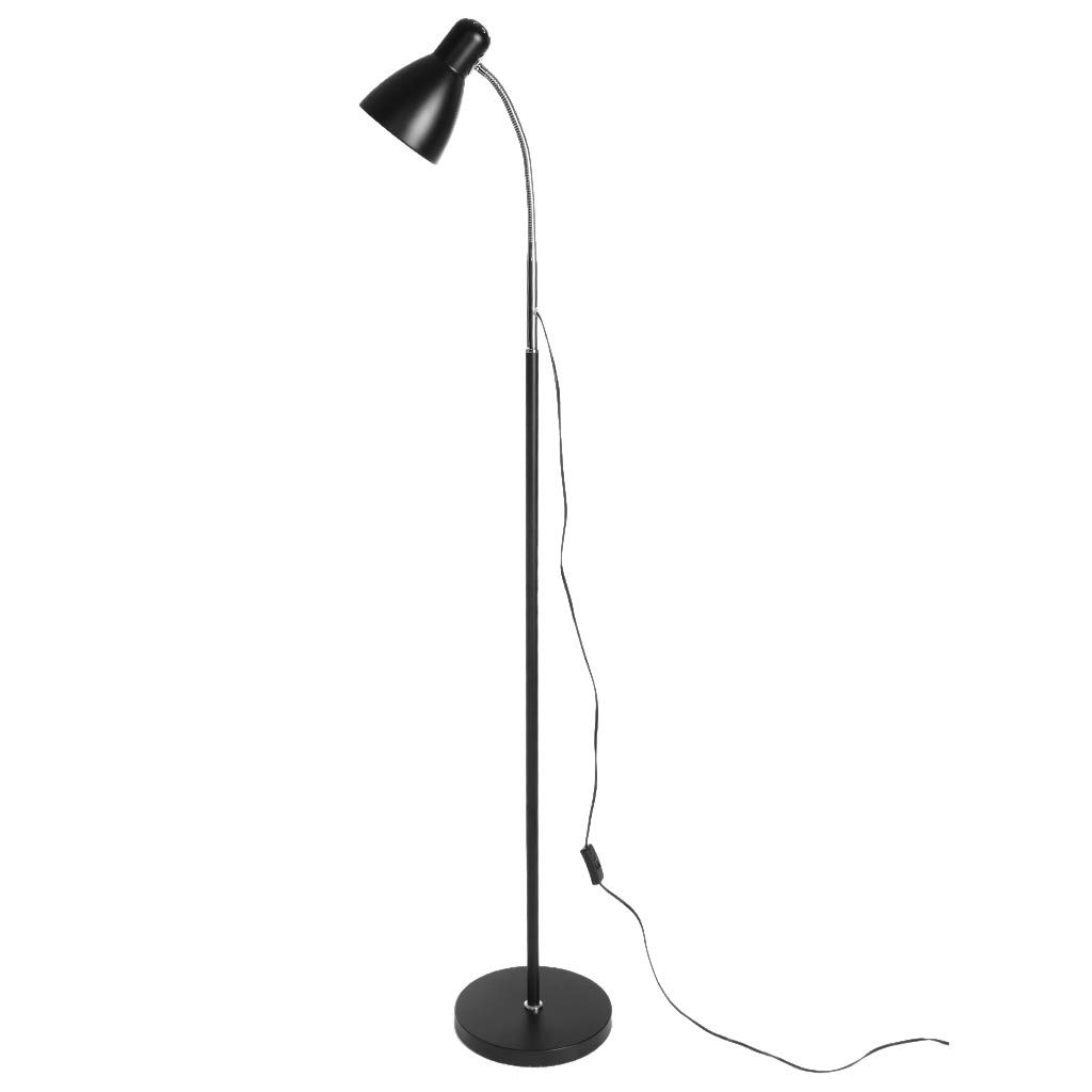 WONdere Metal Folding Floor Lamp, Adjustable Goose Neck Standing Lamp with Heavy Metal Based, Torchiere Light for Living Room, Bedroom, Study Room and Office (Single)