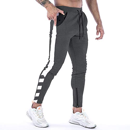Men's Casual Joggers Pant,Slim Fit Athletic Sweatpants for Gym Workout Athletic with Zipper Ankle Cuffs