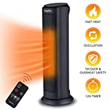 FLAMEMORE 1 TH-3002 Electric Ceramic Tower Space Reomte Control 1500W 12H Timer Oscillating Heater With Tip-over & Overheating Safety Cut-off, 7.5 in X 7.5 in X 22 in, Black