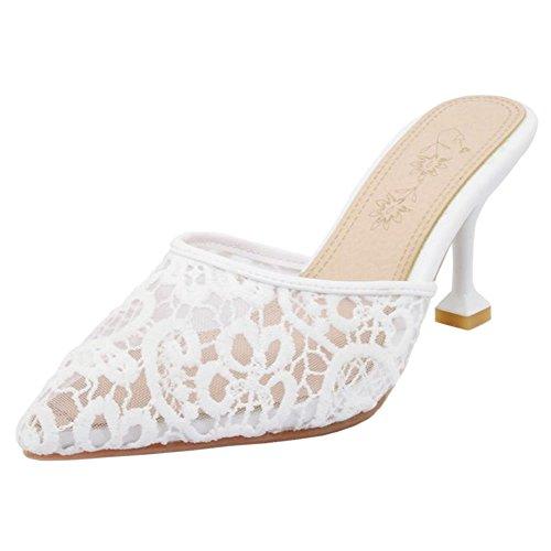 COOLCEPT Damen Geschlossene Mules Schuhe Heels White