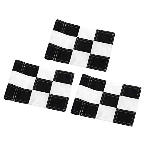 KINGTOP Checkered Golf Flag with Plastic Insert, Putting Green Flags for Yard, Indoor/Outdoor, Garden Pin Flags, 420D Premium Nylon Flag, 8