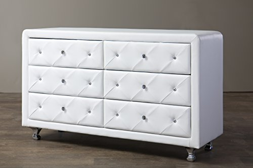 Baxton Studio Luminescence Wood Contemporary Upholstered Dresser, White by Baxton Studio