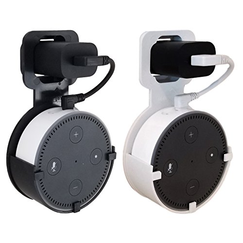 (The Spot by Dot Genie: The Original Outlet Wall Mount Hanger Stand for Home Voice Assistants - Designed in USA - No Messy Wires or Screws - Multiple Colors (Black & White 2-Pack))