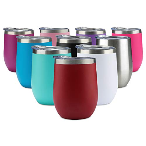 (Jearey Stainless Steel Wine Glass Tumbler 12 oz Stemless Double Wall Vacuum Insulated Matte Wine Tumblers with Lid (Red, 1 Pack))