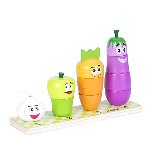 USATDD Wooden Shape Color Sorter Stacking Chunky Puzzle Educational Block Toy Counting Recognition Stacker Board Matching Game for Preschool Baby Toddlers (Vegetables)