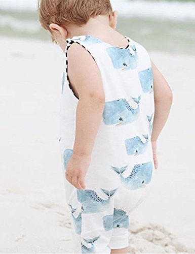 Toddlers Baby Boys Romper Sleeveless Outfit Blue Whales Print Jumpsuit Animal Clothes