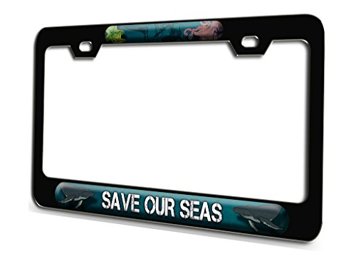 SAVE OUR SEAS Scuba Diving Black Steel License Plate Frame 3D Style