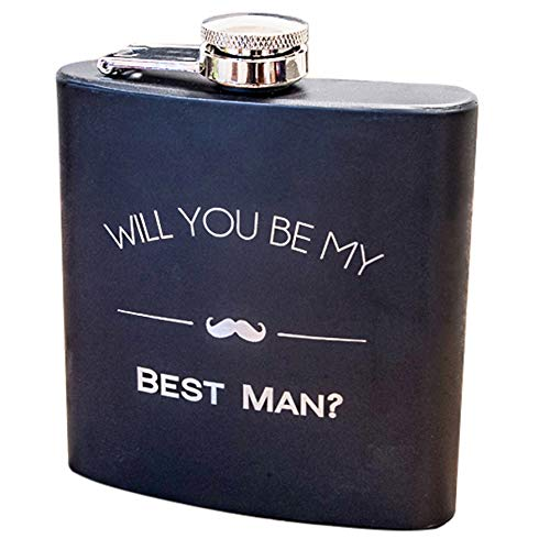 Will You Be My Best Man Engraved Gift Flask - Best Man Proposal Gifts- Flasks For Men, Whiskey Favor - Extra Thick 5mil #304 Stainless Steel, Laser Engraved Design, Leak Proof Best Man 602